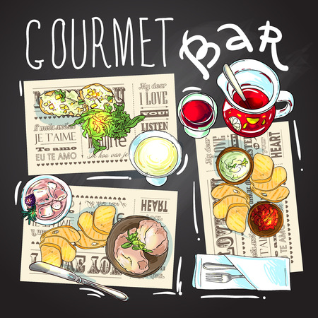 wine and food: Gourmet bar. Beautiful hand drawn