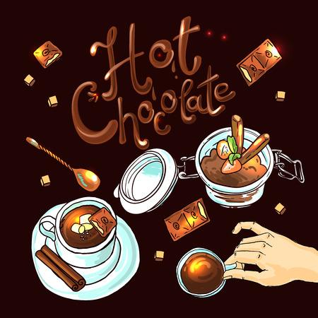 Beautiful hand drwan illustration hot chocolate.