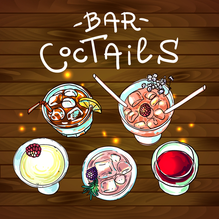 cocktails: Beautiful hand drawn ilustration coctails bar top view
