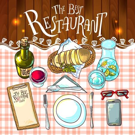 Beautiful hand drawn illustration restaurant food top view