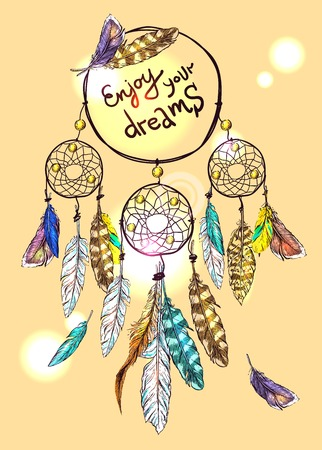 Beautiful hand drawn poster dream catcher for your design