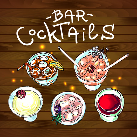 bar top: cocktails bar top view for your design