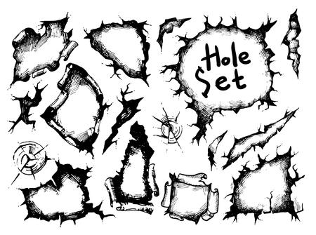 illustration sketch holes set