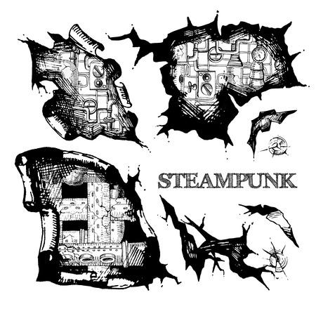 holes: illustration sketch holes steampunk for your design. Illustration