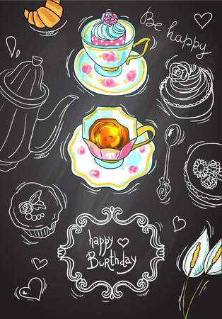 illustration tea and sweets on the chalkboard background Illustration