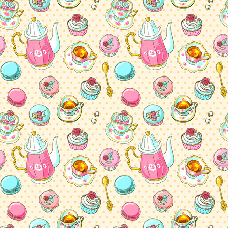 cup cake: seamless pattern tea and sweets for girls Illustration
