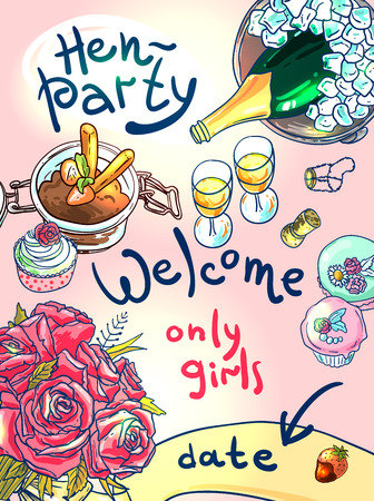 hen party: poster welcome to hen party Illustration