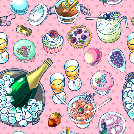 illustration champagne and sweets top view