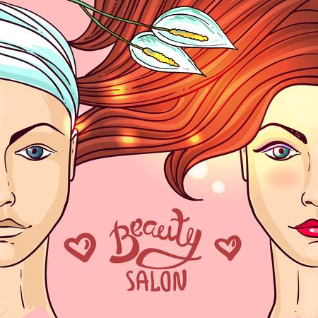 illustration beauty salon. Makeup.