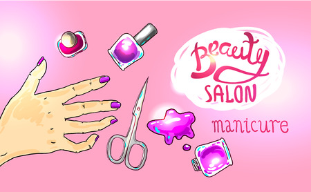 french manicure: illustration manicure in beauty salon