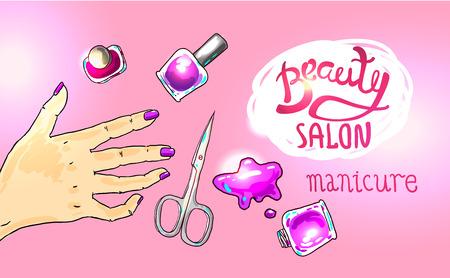 illustration manicure in beauty salon