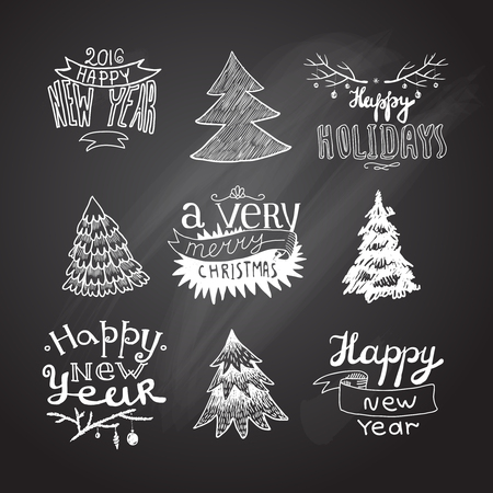 set of hand sketches Christmas trees Vectores