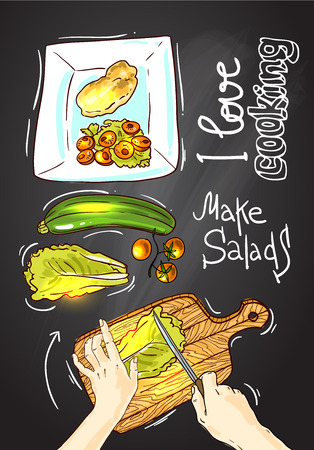 cooking oil: Beautiful hand drawn illustration I love cooking. Food top view