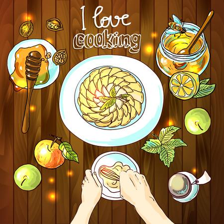 apple pie: Beautiful hand drawn illustration apple pie. Food top view