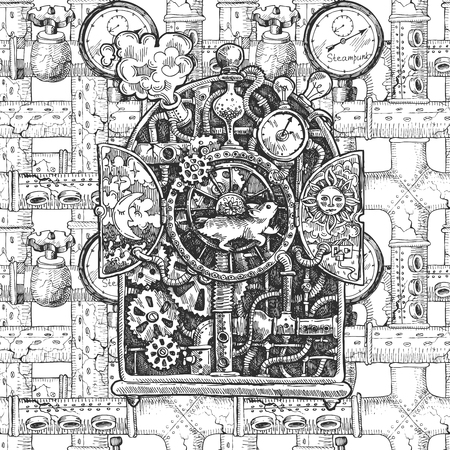 Beautiful hand drawn sketch steampunk mechanism. Time machine.