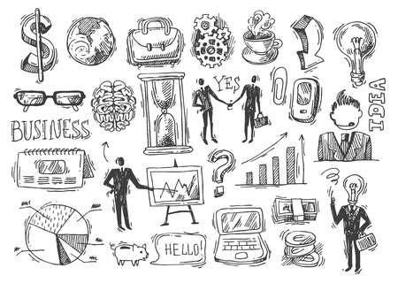 computer art: Beautiful hand drawn sketch business elements for your design