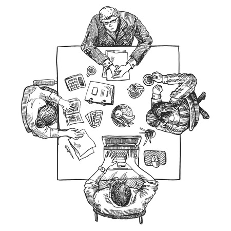 working hands: Hand drawn sketch of people in the office. Top view. Illustration