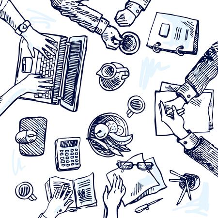 trabajando en computadora: Dibujado a mano boceto de la gente en la oficina. Vista superior.