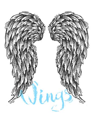 diavoli: Bella schizzo disegnato a mano di ali per la progettazione