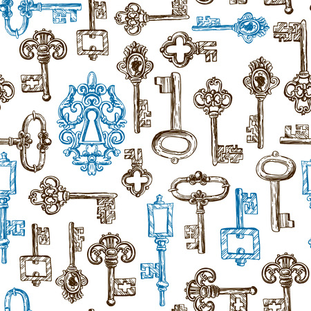 clues: Beautiful hand drawn vector seamless pattern sketch keys for your design