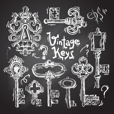 clues: Beautiful hand drawn vector illustration sketch keys for your design