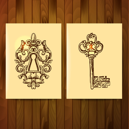 passkey: Hand drawn vector sketch illustration vintage key for your design