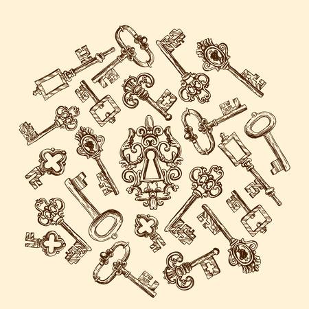 passkey: Hand drawn vector sketch illustration vintage key for your design