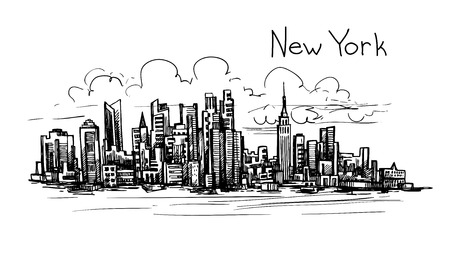 draw bridge: Hand drawn New York sketch for your design