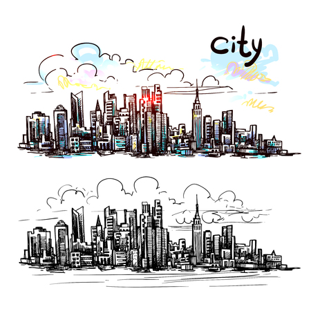 hand outline: Hand drawn New York sketch for your design