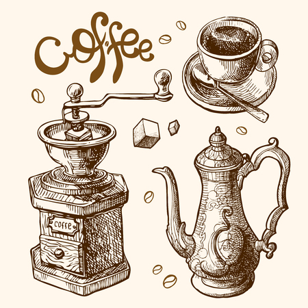 contemporary taste: Hand drawn sketch illustration coffee for you design Illustration