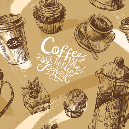contemporary taste: Hand drawn sketch seamless pattern coffee for you design