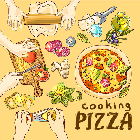margherita: Beautiful hand drwan vector illustration cooking pizza for your design Illustration
