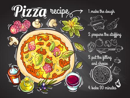 美しい手描いてくれた似顔絵ベクトル図、設計のためのピザを料理  イラスト・ベクター素材