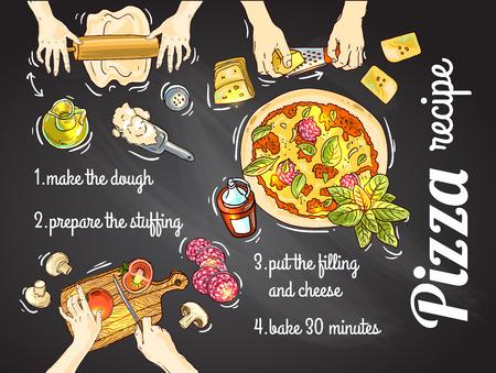Mooie hand drwan vector illustratie koken pizza voor uw ontwerp