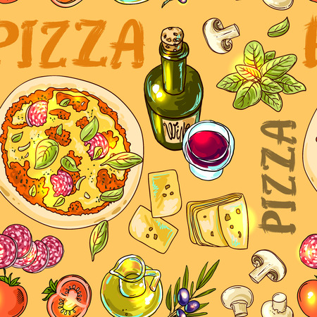 Beautiful hand drwan vector illustration cooking pizza for your design Vettoriali