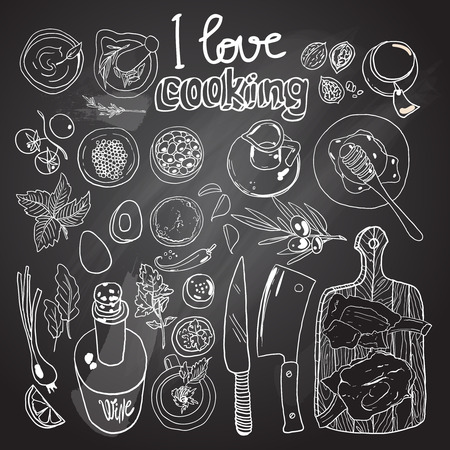 handdraw: Beautiful hand-draw poster i love cooking for your design
