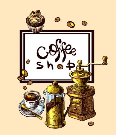 Beautiful hand drawn illustration sketch of coffee.