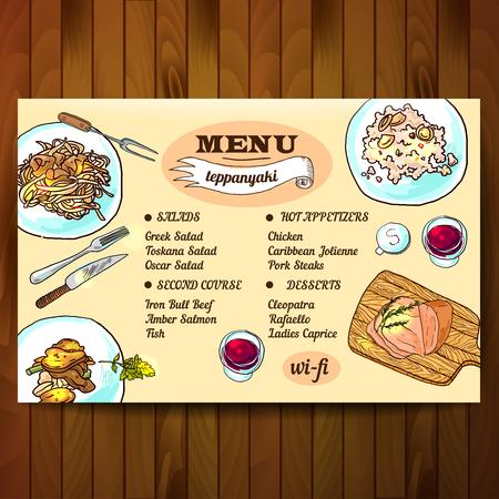 illustration teppanyaki  food top view