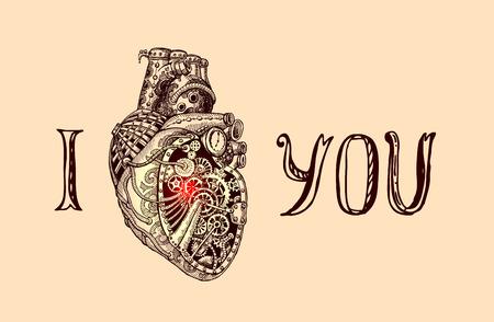 illustration of mechanical heart. I love you.