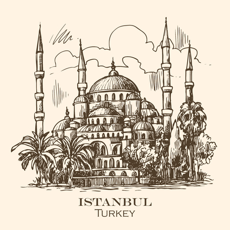 hospice: sketch illustration Istanbul blue mosque Illustration