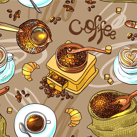 Beautiful hand drwan vector sketch illustration coffee for your design