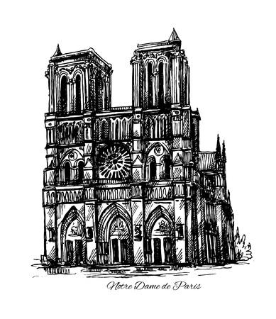 Mooie hand getrokken schets illustratie Notre Dame de Paris Stock Illustratie