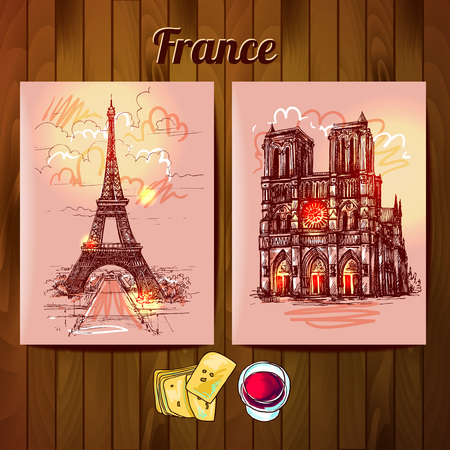 facade building: Beautiful hand drawn sketch illustration Notre Dame de Paris