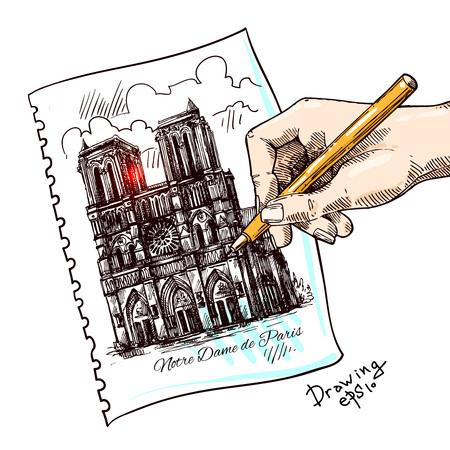 美しい手描きのスケッチ図ノートルダム ・ ド ・ パリ  イラスト・ベクター素材