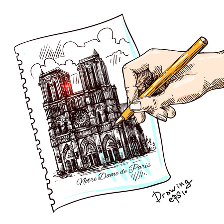 notre dame de paris: Beautiful hand drawn sketch illustration Notre Dame de Paris