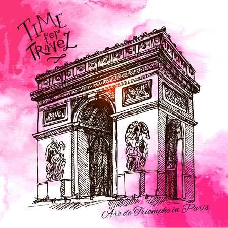 France - Paris - Arc de triomphe - Very detailed representation of an Hand drawing Illustration