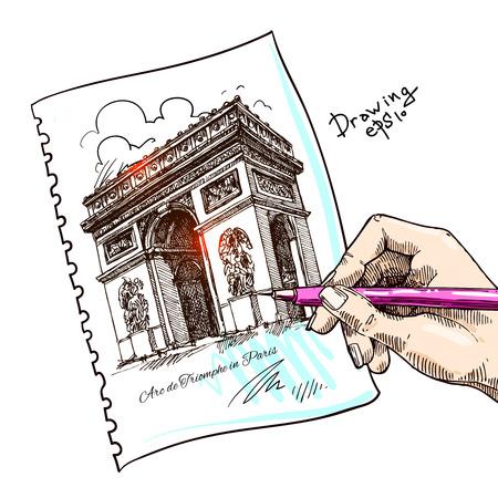 triumphe: France - Paris - Arc de triomphe - Very detailed representation of an Hand drawing Illustration