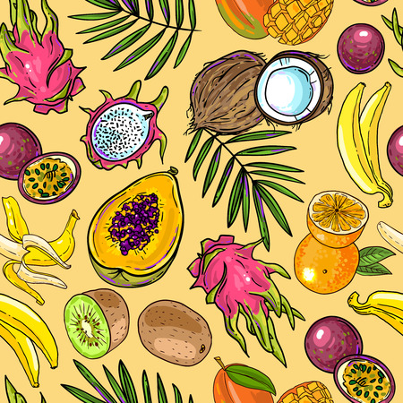 Beautiful hand drawn seamless pattern tropical fruits for your design