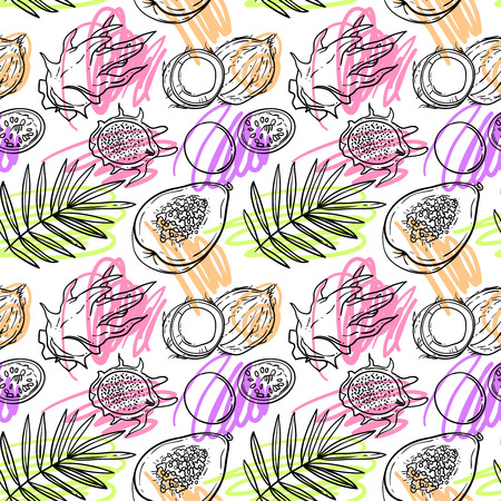 Beautiful hand drawn seamles pattern tropical fruits for your design