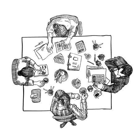 modern interior design: Hand drawn sketch of people in the office. Top view. Illustration
